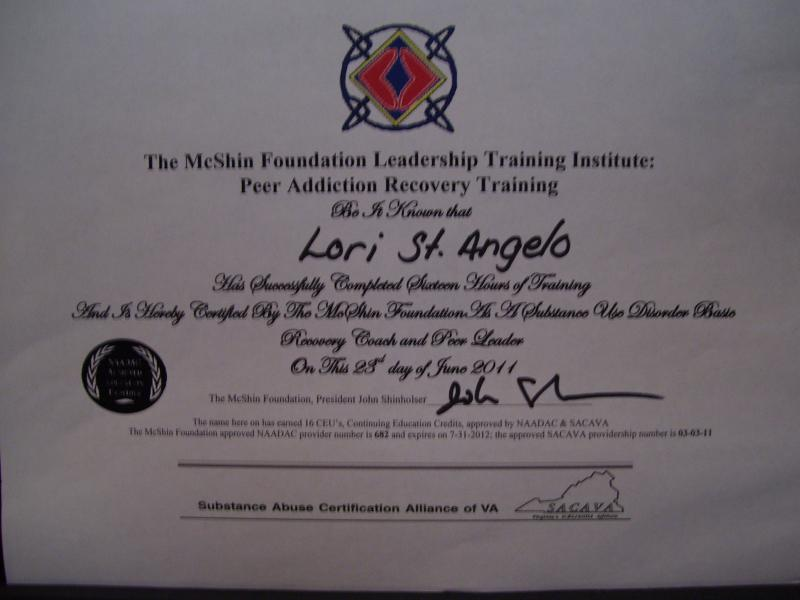 Certified Recovery Coach Lori St. Angelo